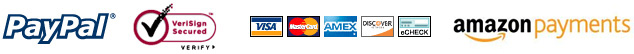 Various payment methods accepted such as Paypal, Visa and Credit Cards